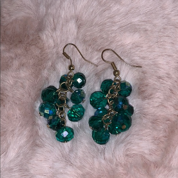 Charming Charlie Jewelry - Plastic blue/green sparkly earrings